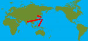 世界地図矢印